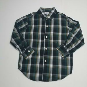 IZOD Plaid Green Long Sleeve Dress Shirt Size XS 4